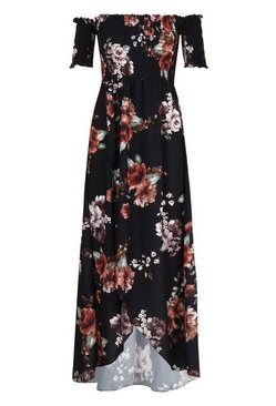 Stone Floral Off Shoulder Maxi Dress