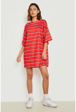 Red Oversized Stripe T-Shirt Dress