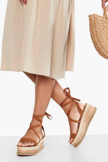 Tan brown Flatform Espadrille Tie Up Sandals