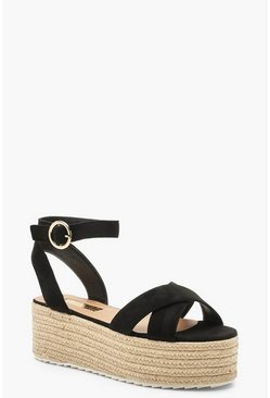 Black svart Cross Front Espadrille Flatforms