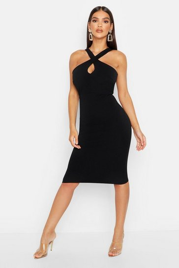 Black Twist Front Crepe Midi Dress