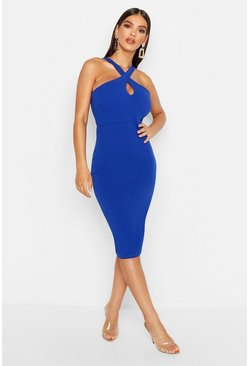Cobalt Twist Front Crepe Midi Dress