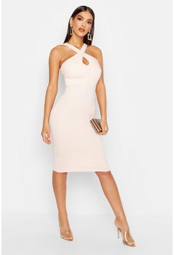 Nude Twist Front Crepe Midi Dress