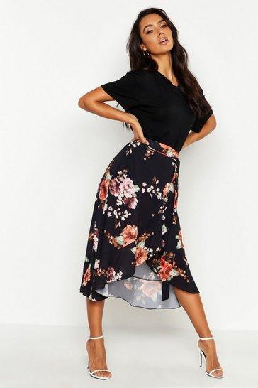 Black Floral Wrap Ruffle Midi Skirt