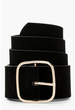 Black Suedette Square Buckle Waist Belt