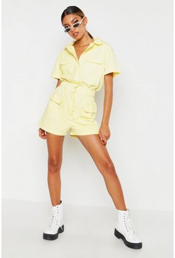 Lemon Utility Denim Playsuit