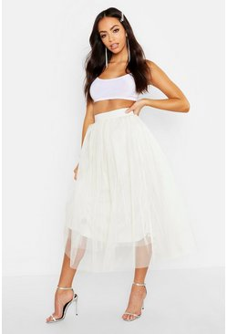 Ivory white Tulle Longer Length Midi Skirt