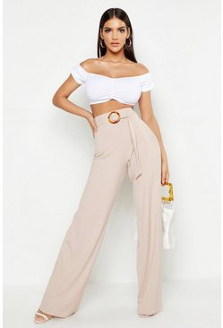 Sand beige High Waist Horn O Ring Ribbed Wide Leg Trousers