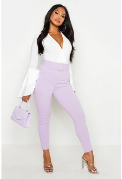 Lilac purple High Waist Belted Cigarette Trousers