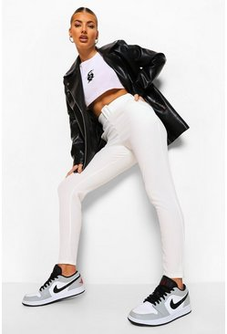 White High Waist Belted Cigarette Trousers