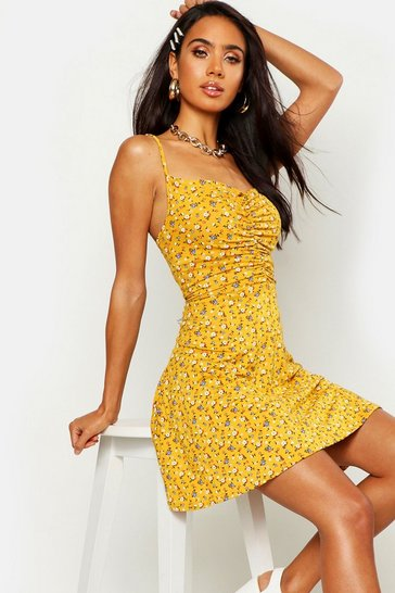 Mustard yellow Ditsy Floral Ruched Front Strappy Skater Dress
