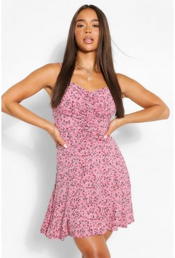 Pink Ditsy Floral Ruched Front Strappy Skater Dress