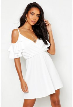 White Ruffle Cold Shoulder Skater Dress