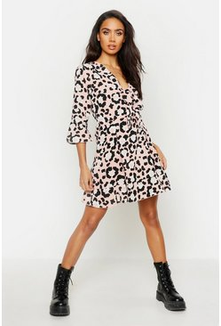 Blue Tie Front Leopard Tea Dress