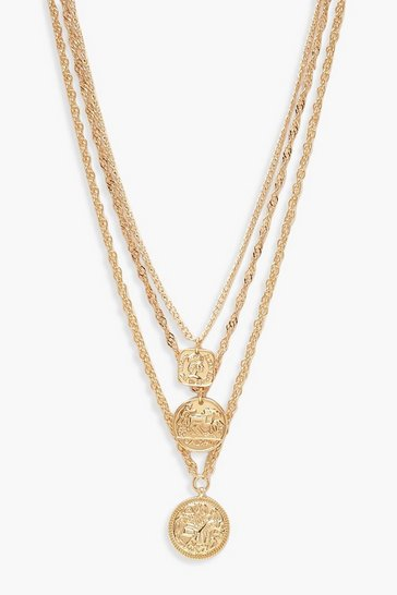 Gold metallic Square Medallion & Coin Layered Necklace
