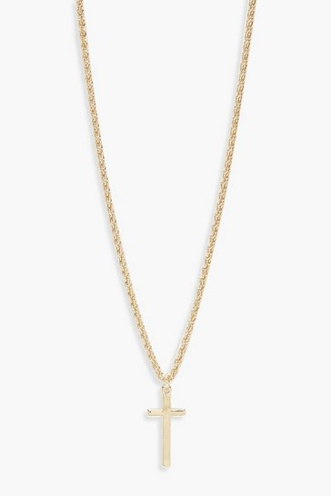 Gold metallic Vintage Chain Cross Pendant Necklace