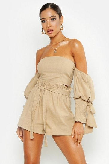 Stone beige Linen Tailored Short
