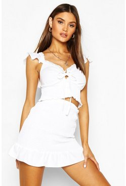 White Frill Detail Shirrred Top & Mini Skirt Two-Piece Set
