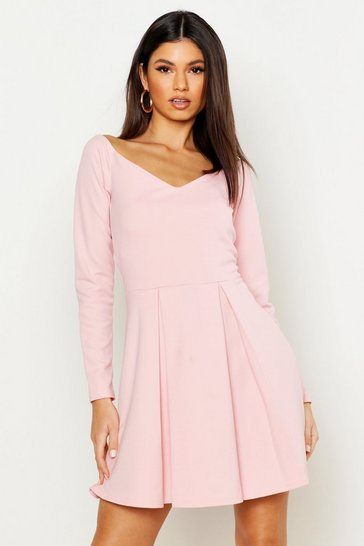 Dusty rose pink Sweetheart Long Sleeve Box Pleat Skater Dress