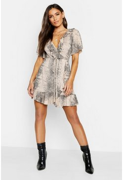 Stone Snake Wrap Ruffle Tea Dress
