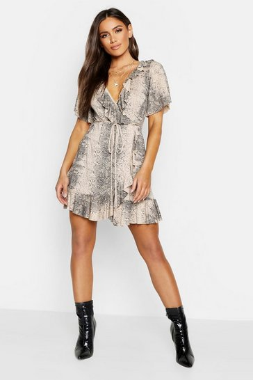 Stone beige Snake Wrap Ruffle Tea Dress