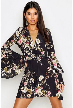 Black Floral Wrap Extreme Ruffle Sleeve Skater Dress