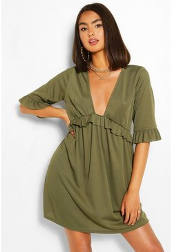 Khaki Ribbed Ruffle Smock Dress