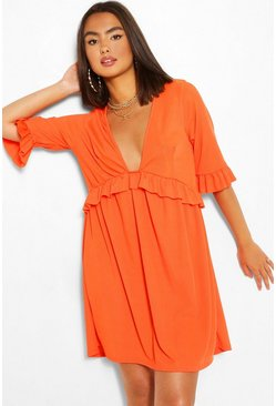 Orange Ribbed Ruffle Smock Dress