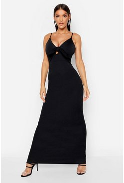 Black Tie Front Crepe Maxi Dress