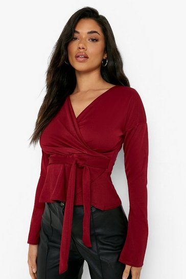 Berry red Crepe Split Sleeve Ruffle Shoulder Top