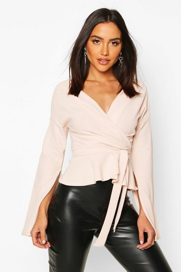 Blush pink Crepe Split Sleeve Ruffle Shoulder Top