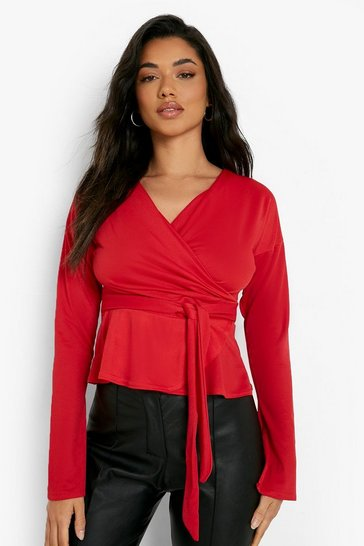 Red Crepe Split Sleeve Ruffle Shoulder Top