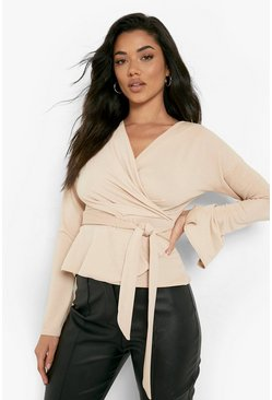 Stone beige Crepe Split Sleeve Ruffle Shoulder Top
