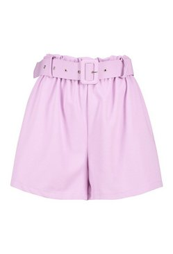 Lilac Tailored Paper Bag Belted Short
