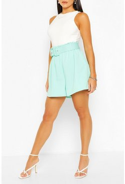 Mint green Tailored Paper Bag Belted Short