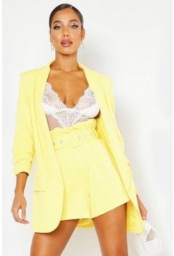 Yellow Tailored Paper Bag Belted Short