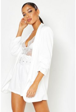 White Woven Tailored Ruched Sleeve Blazer
