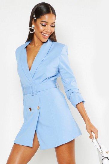 Blue Woven Tailored Belted Blazer Dress