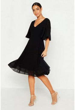 Black Cape Detail Chiffon Midi Dress