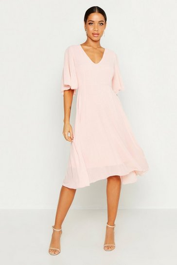 Blush Cape Detail Chiffon Midi Dress