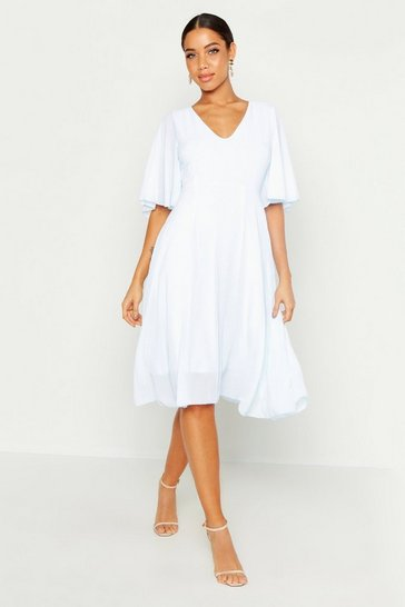 Sky blue Cape Detail Chiffon Midi Dress