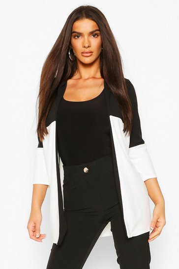 White Contrast Panel Lightweight Duster