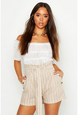 Sand beige Linen Look Tie Side Shorts