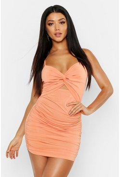 Apricot Rouche Knot Front Bodycon Mini Dress