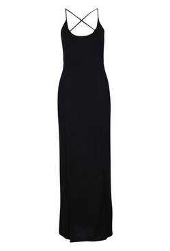 Black Strappy Plunge Maxi Dress