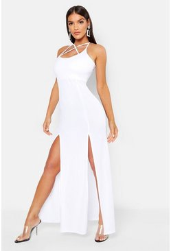 White Strappy Plunge Maxi Dress