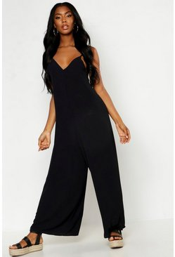 Black Wide Leg Cami Culotte Jumpsuit
