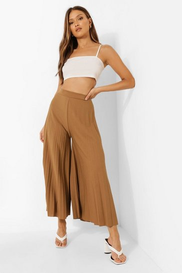 Chartreuse yellow High Waist Pleated Wide Leg Culottes