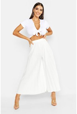 Ivory white High Waist Pleated Wide Leg Culottes