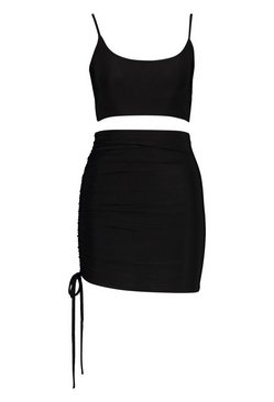 Black Slinky Cami Top and Ruchhe Mini Skirt Co-ord